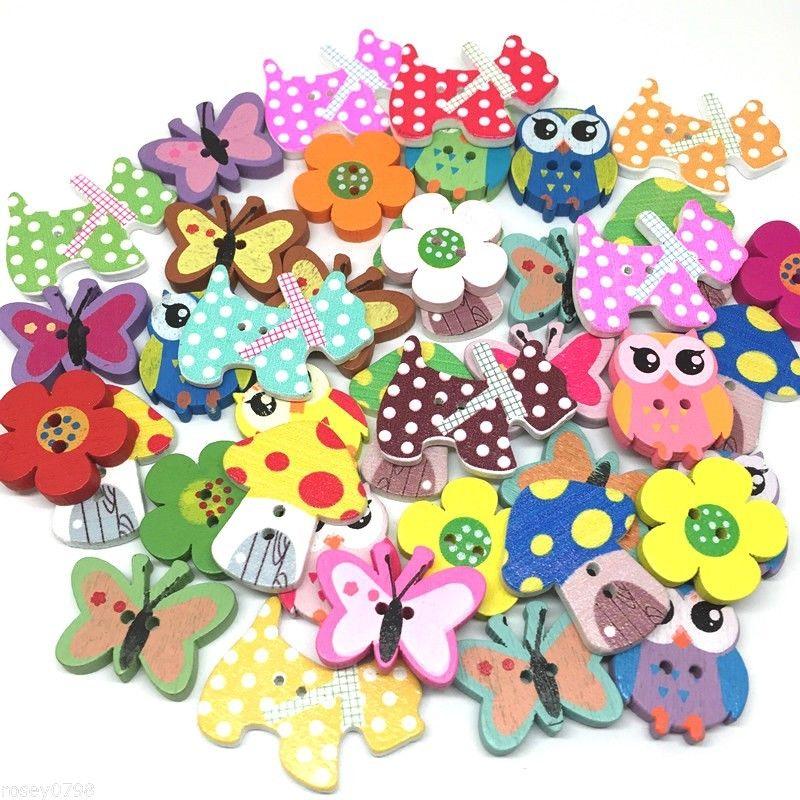 100 x Assorted Round Wooden Owl Buttons 15mm Arts Crafts Dressmaker Sew
